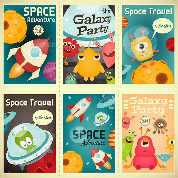 Space Posters Set - Monsters Characters