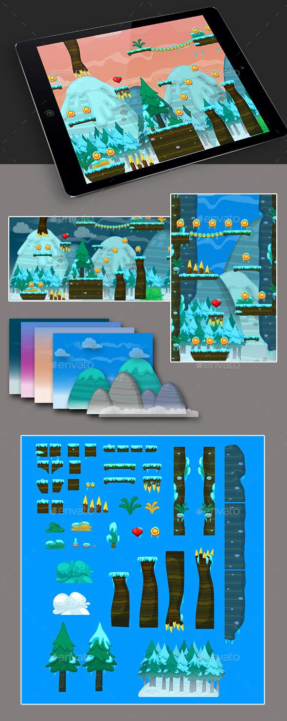 2D Ice Game Platformer Tilesets - Tilesets Game Assets