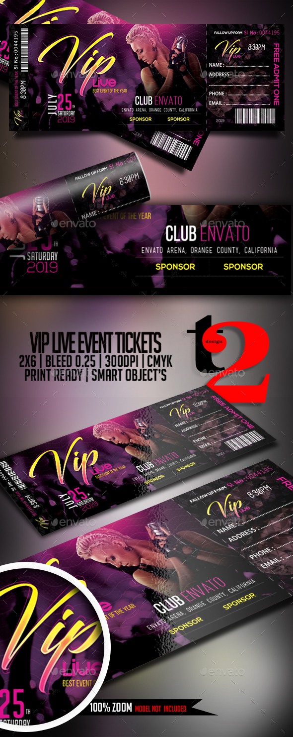 VIP Live Event Tickets Template - Clubs & Parties Events