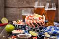 Shrimps appetizer and beer