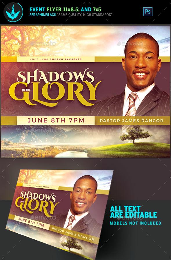 Shadows of His Glory Church Flyer Template - Church Flyers