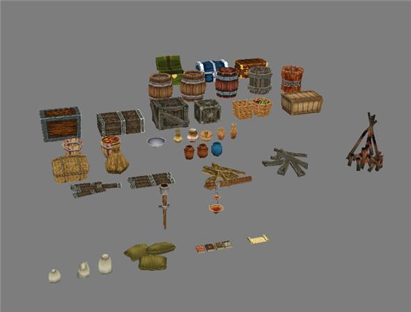 Game Model Arena - fire wood cask bottle box basket grass bags 01 - 3DOcean Item for Sale