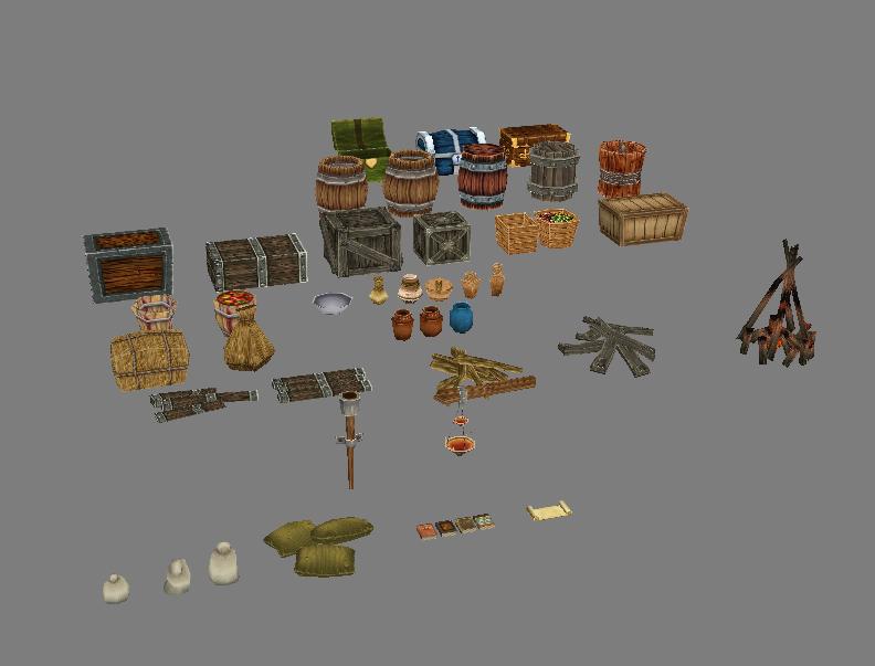 Game Model Arena - fire wood cask bottle box basket grass bags 01