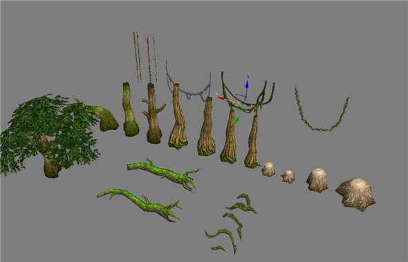Game Model Arena - forest trees grass 01 - 3DOcean Item for Sale