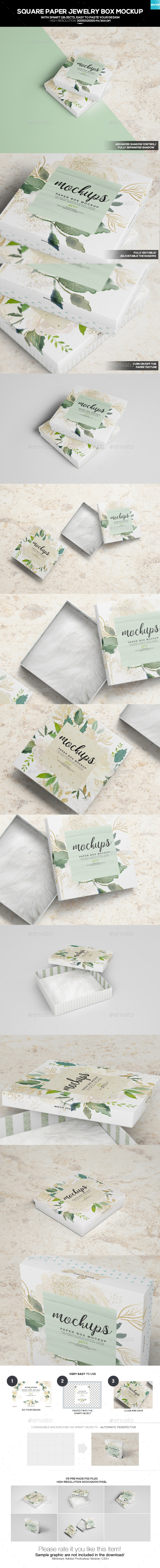 Square Paper Jewellery Box Mockup - Miscellaneous Packaging