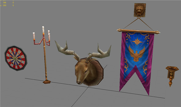Game Model Arena - gizmos shield decorations candlestick antlers 01 - 3DOcean Item for Sale
