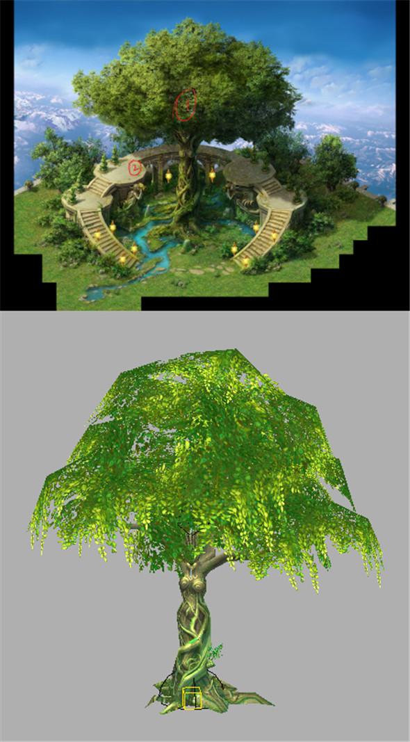 Game Model Arena - Golden Apple Tree 01 - 3DOcean Item for Sale
