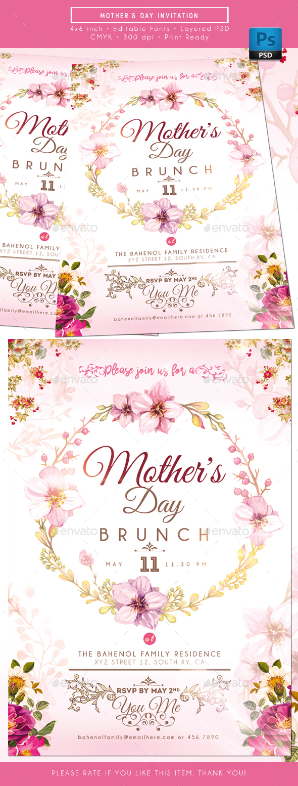 mother s day invitation by rudydesign graphicriver