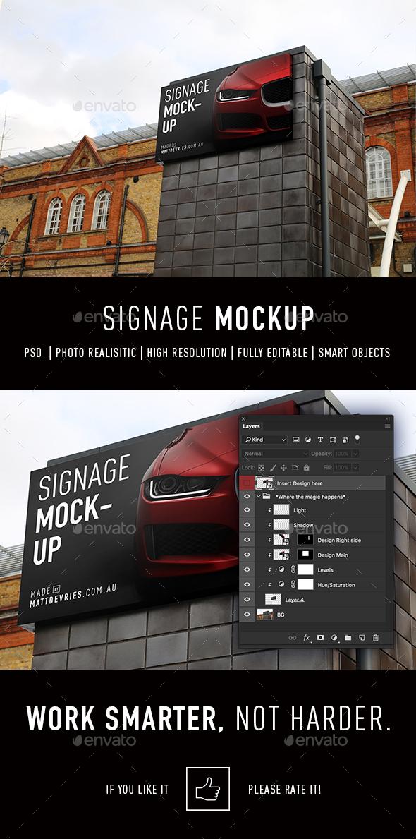 Smart Signage Mockup PSD Template - Signage Print