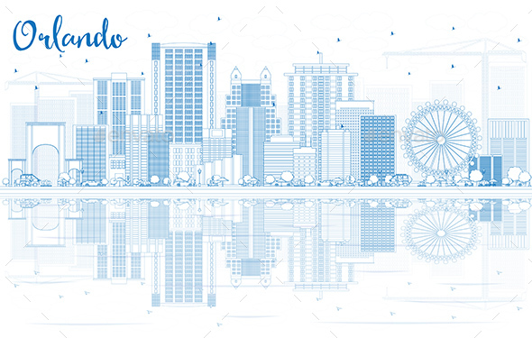 Outline Orlando Skyline with Blue Buildings and Reflections - Buildings Objects