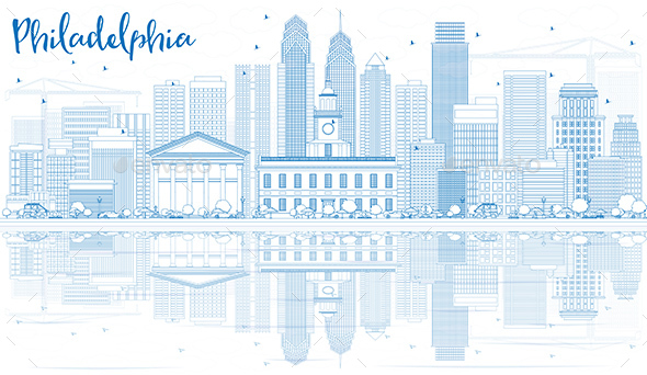 Outline Philadelphia Skyline with Blue Buildings and Reflections - Buildings Objects