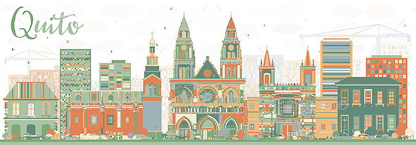Abstract Quito Skyline with Color Buildings - Buildings Objects