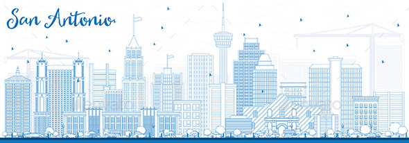 Outline San Antonio Skyline with Blue Buildings - Buildings Objects