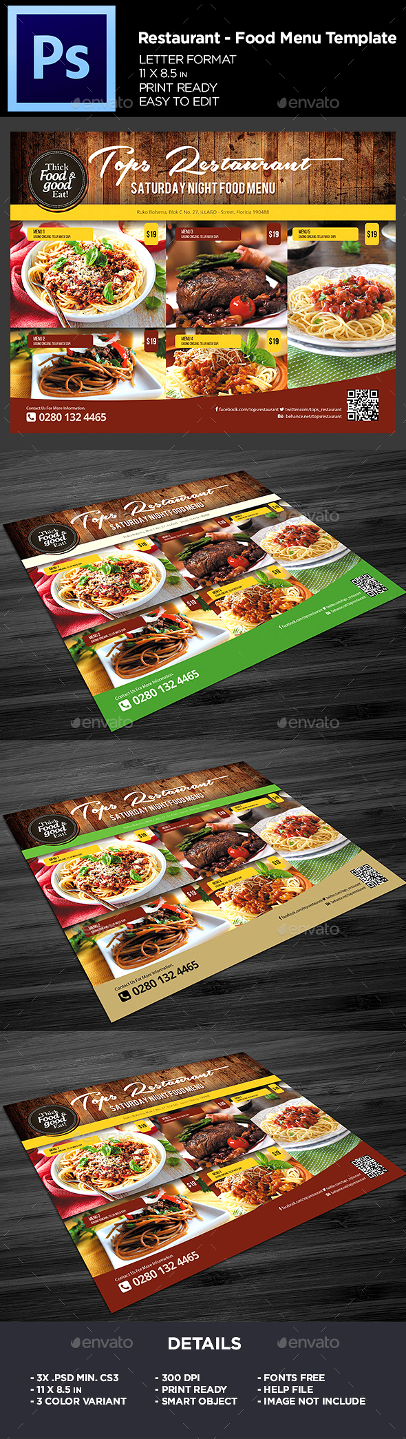 Restaurant Menu - Food Menu Flyer Template - Restaurant Flyers