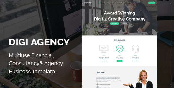 Digi Agency - Multipurpose PSD Template - Corporate PSD Templates