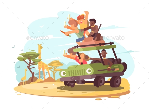 Group of Tourists on Safari - People Characters