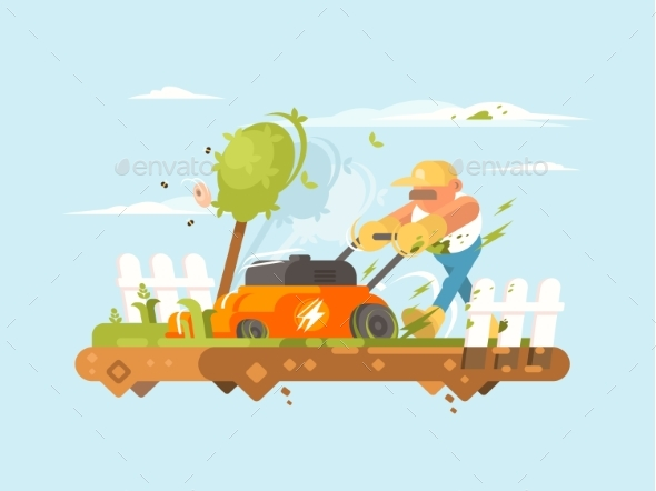 Man Mowing Grass - People Characters