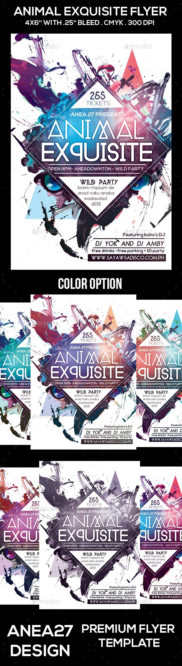 Animal Exquisite Flyer - Clubs & Parties Events