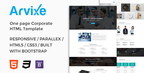 Arvixe One Page Corporate Html Template By Webdgallery Themeforest