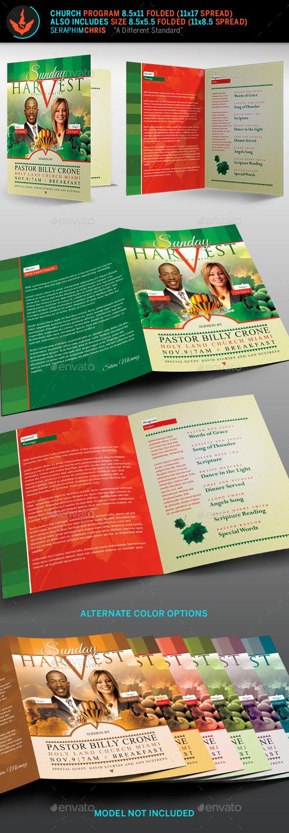 Sunday Harvest Church Program Template - Informational Brochures