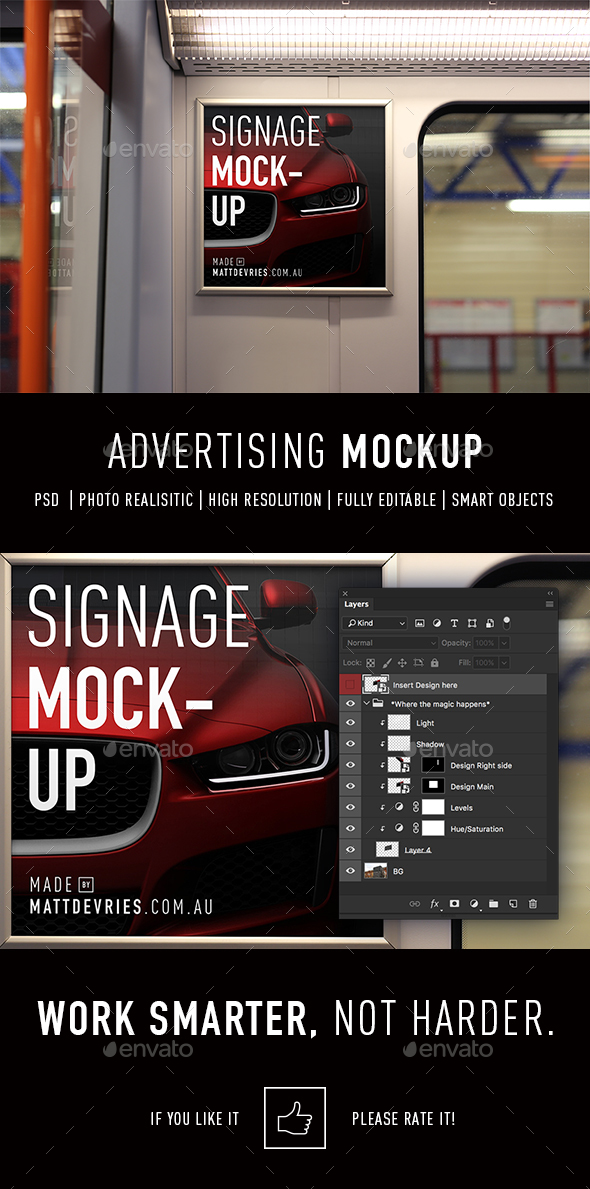 Smart Advertising Mockup PSD Template - Signage Print