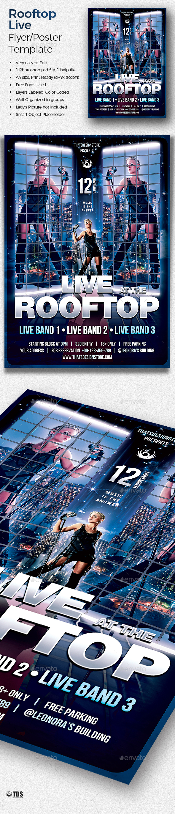 Rooftop Live Flyer Template - Concerts Events
