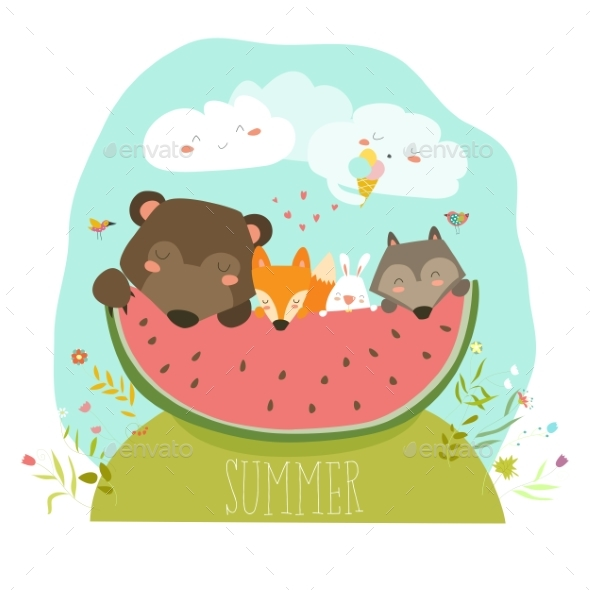 Animals Eating Watermelon Slice - Animals Characters