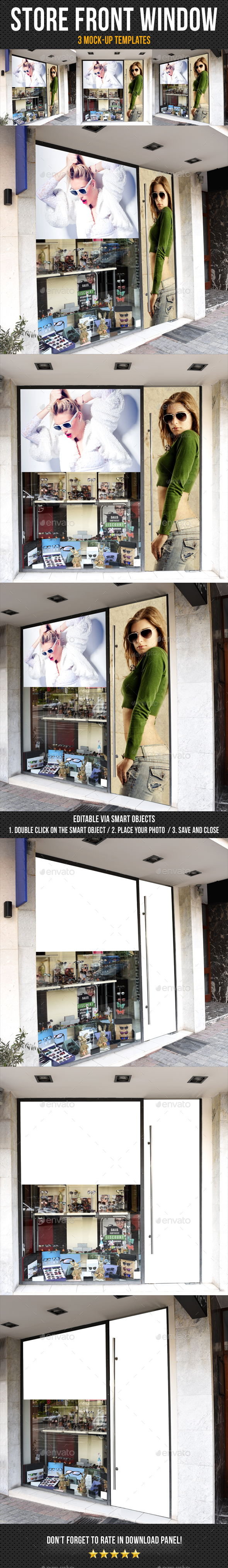 Store Front Window Mock-Up Pack 06 - Signage Print