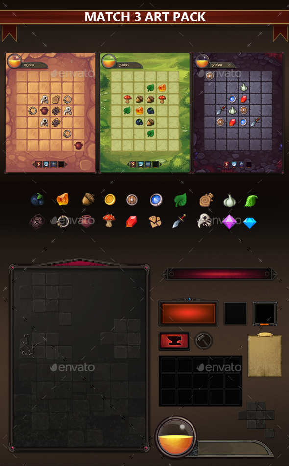 Match-3 Art Pack - Game Kits Game Assets