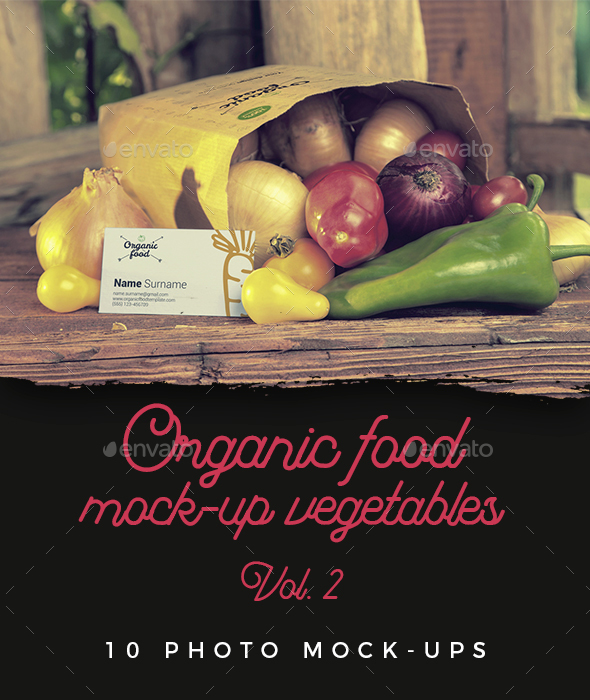 Organic Food Photo Mockups / Vegetables Vol.2 - Food and Drink Packaging
