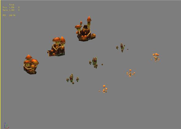 Game Model Arena - mushroom 01 - 3DOcean Item for Sale