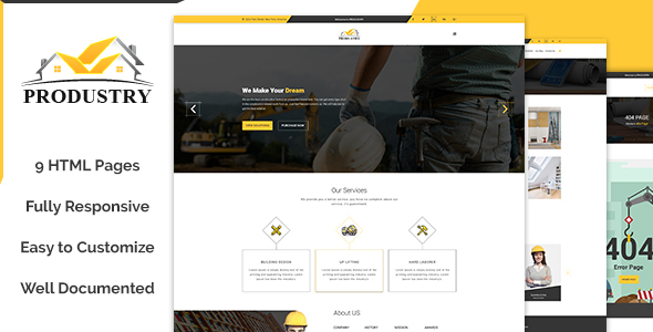 Produstry- Construction Multipage Template - Site Templates