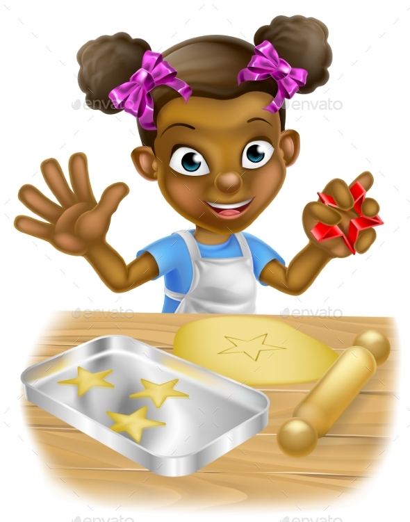 Cartoon Little Girl Chef Cooking - People Characters