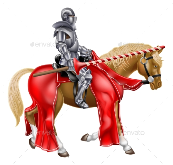 Medieval Joust Knight on Horse - Buildings Objects