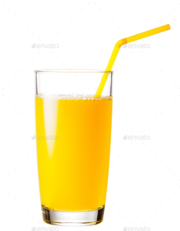 Full glass of orange juice with a straw - Stock Photo - Images