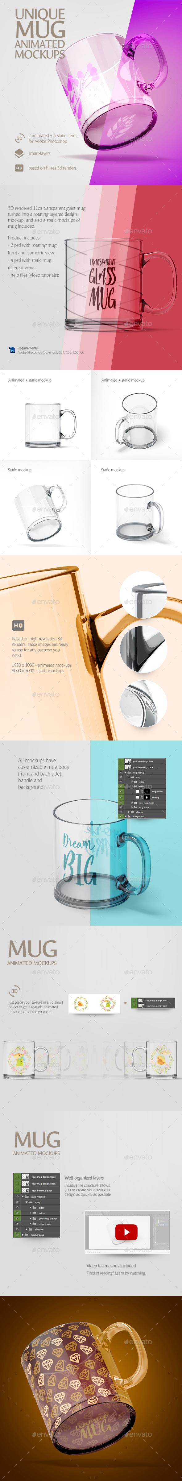 Glass Mug Animated Mockup - Stationery Print