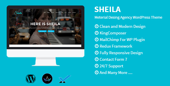 Sheila - Material Design Agency WordPress Theme - Portfolio Creative