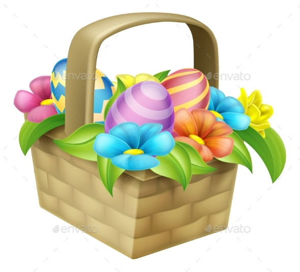Easter Eggs Basket - Flowers & Plants Nature