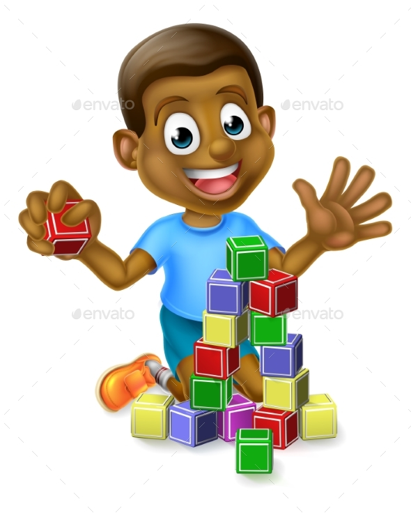 Boy Playing with Building Blocks - People Characters