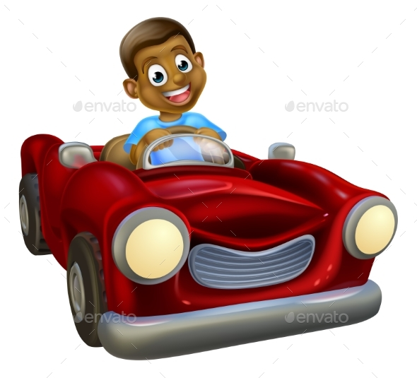 Cartoon Character Driving Car - People Characters
