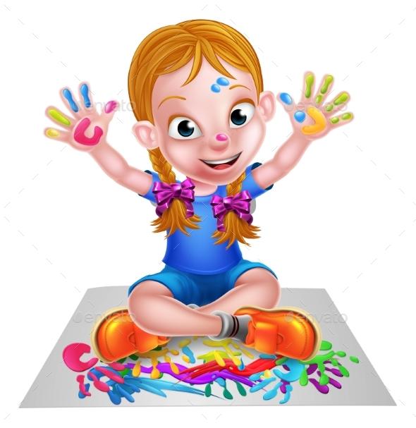 Cartoon Girl Painting - People Characters