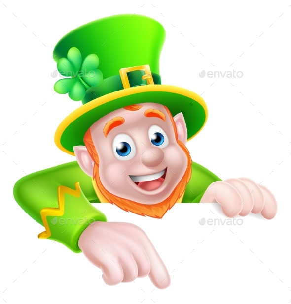 St Patricks Day Cartoon Leprechaun Pointing - Miscellaneous Seasons/Holidays