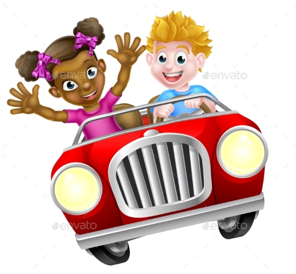 Kids Driving Car - People Characters