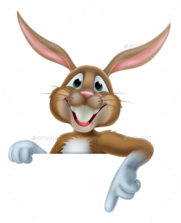 Easter Bunny Pointing - Animals Characters