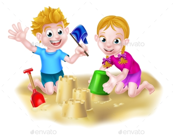Boy and Girl Playing in the Sand - People Characters