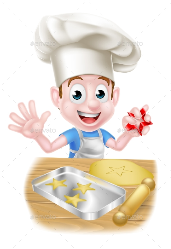 Cartoon Chef Boy Baking - Food Objects