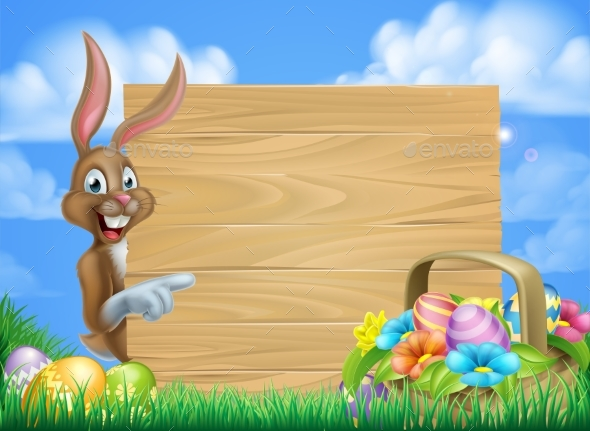 Easter Bunny Sign - Miscellaneous Vectors
