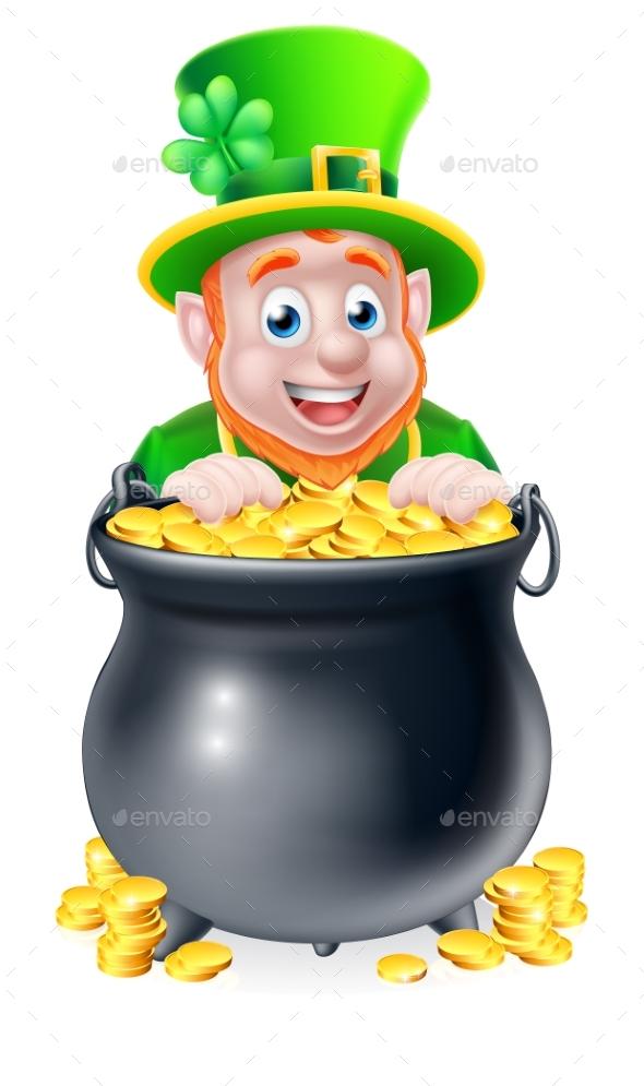 Cartoon Leprechaun and Pot of Gold - Seasons/Holidays Conceptual