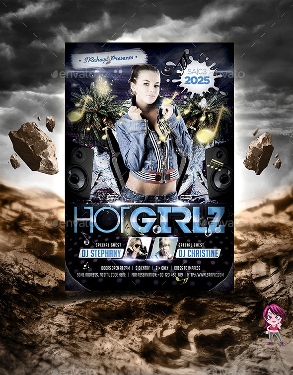 Hot Girlz Flyer Template - Clubs & Parties Events