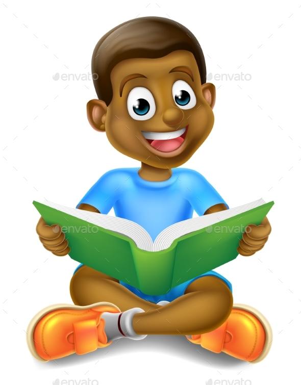 Cartoon Boy Reading Book - Miscellaneous Vectors